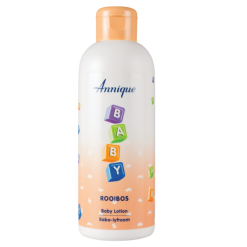 The Rooibos Baby Lotion can be used on the baby's body and face and may be used from birth. The gentle moisturising action cools and calms the skin while the Rooibos extract prevents further irritation from heat, handling and other irritants. Annique Baby Lotion helps to prevent skin irritations commonly found with babies and younger children such as dryness and the itching that goes along with it. It also brings relief to restlessness caused by the chafing and scratching of clothes and blankets. Ideal for: Babies, from birth People suffering from eczema on their body Product application: Apply generously to cleansed skin Use morning (AM) and evening (PM) Massage gently into skin Key active ingredients: Aspalathus Linearis (Rooibos extract) Glycerine Benefits: Prevents dryness and itching Gently moisturising Ideal with: Baby 2-in-1 Shampoo and Body Wash